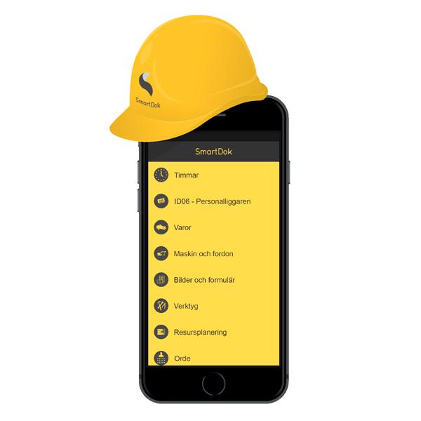 SmartDok mobil med bygghjälm