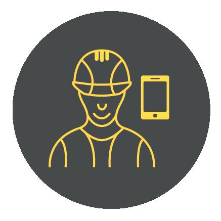 Det är enkelt för anställda att registrera timmar och resursanvändning på mobilen