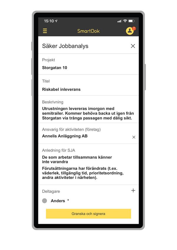 SJA-ansvarig och SJA-deltagare kan signera direkt i mobilen.